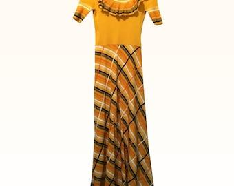 Vintage Piccini Yellow Knit Maxi Dress