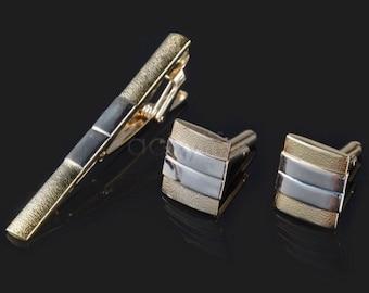 Tie Clip + Cufflinks Gold
