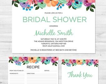 Bridal Shower Invitation, Floral Bridal Shower Invite, Thank You Cards, Bridal Shower Kit, Recipe Card, Floral Bridal Shower Invitation