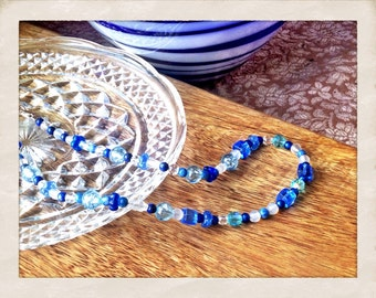 Blue glass and sodalite necklace