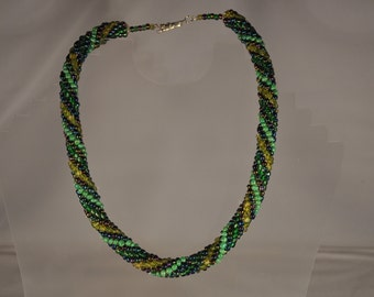 Earthy Green Beaded Statement Necklace
