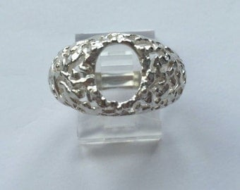 Sterling Silver Oval Cabochon Pre-Notched Freeform Ring Setting Size 9 (7x5-18x13mm) #163-033