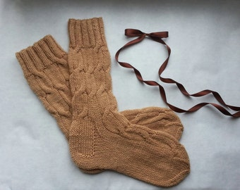 knitted socks  women women socks knit long shin wool hand socks Hand knit socks Women socks gift for her Socks large size socks in gift box