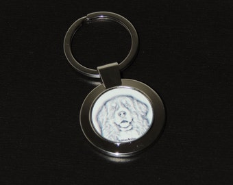 dog Keyring, Keychain with dog black and white, silver, Bernese mountain dog, pet portrait,