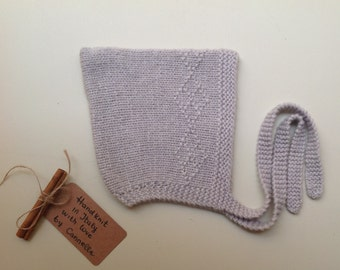 Baby and kid Bonnet Pixie hat 100% cashmere hand knit to order