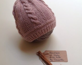 SALE - 30% pure cashmere hand knit baby hat size 6 month - Ready to ship!