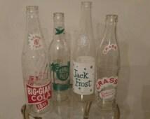 Vintage Sodapop soda pop bottle collection display arrangement decoration Big Giant Jack Frost Crass Royal Palm by Coca Cola