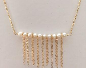 Pearl Fringe Bar Necklace