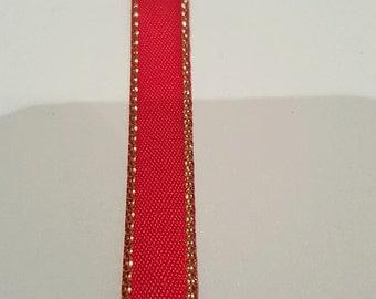 Satin Ribbon With Gold Metalic Edge 6M