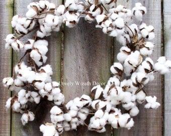 Cotton wreath - Cotton boll Wreath - Preserved cotton Wreath - Farmhouse Wreath -Wedding Wreath - Cotton bolls