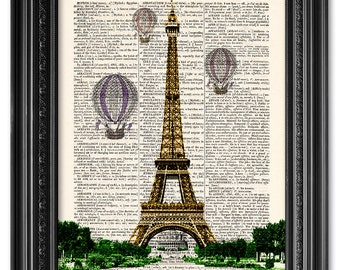 Eiffel Tower and hot air balloons, Dictionary art print, Vintage book art print, upcycled dictionary page, Home Wall Decor, Gift [ART 079]