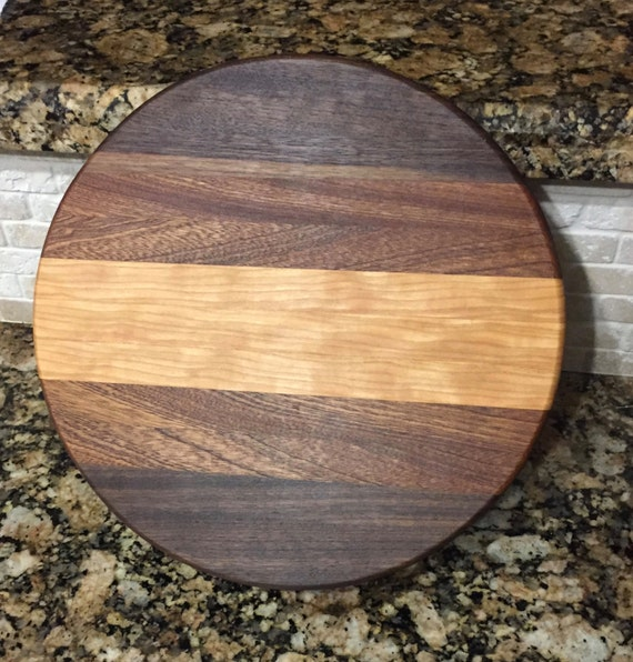 items similar to 12 round handmade wood cutting board on etsy. Black Bedroom Furniture Sets. Home Design Ideas