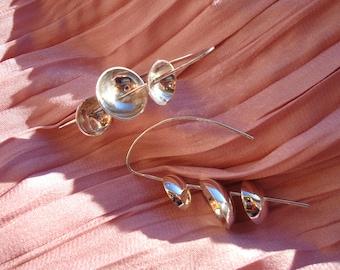 silver earring, pendant earring, handmade earring, modern earring, geometric earring