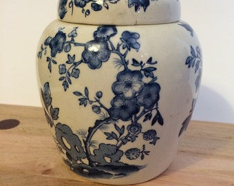 Blue and White Mason's Ironstone Jar   For Twinings Tea