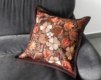 Embroidered pillow cover Dark Brown w/contrast