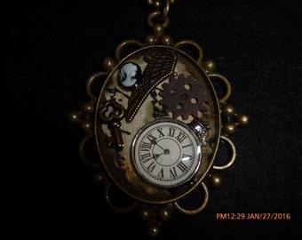 Oval Bronze Steampunk necklace