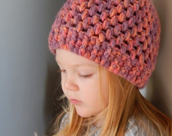 Crochet winter hat for girls 1-3 years old