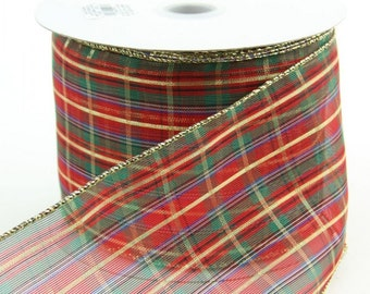 "4"" Wired Ribbon ~ Sheer Red, Green & Gold Plaid Christmas Ribbon ~ Tree Top Ribbon ~ Wide Ribbon ~ Wired Christmas Ribbon ~ 3 Yards"