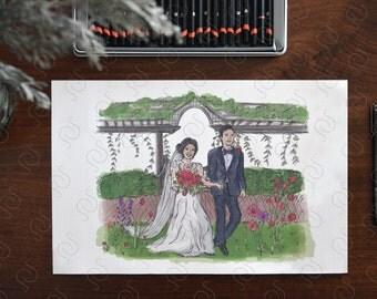 Custom Wedding Illustration - Custom Couples Portrait - Bride and Groom - Custom Wedding Portrait - Personalized Portrait - Wedding Drawing