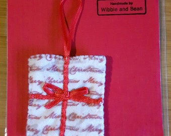 Felt Christmas Present Christmas Tree Ornament With Red Ribbon Detail
