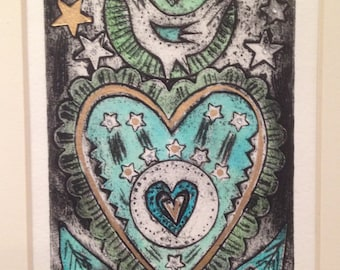 Strong Heart  (handprinted collagraph print)