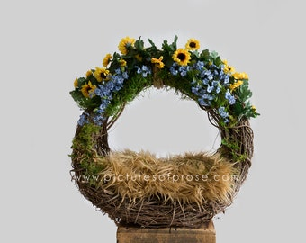 Digital Backdrop for Newborn Photography - Grapevine Wreath with Blue and Yellow Flowers