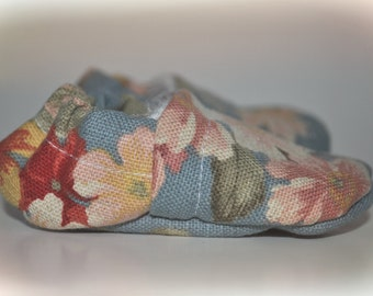 0-6M Floral Print Baby Booties Crib Shoe Slippers Moccasins