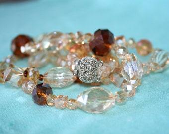 Amber hues Glass Crystal Necklace / Matching Bracelet