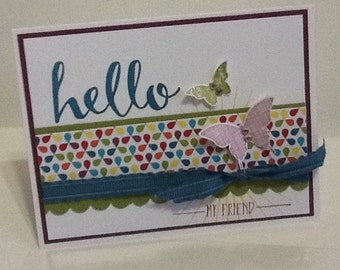 Handmade hand stamped Hello My friend Stampin up card!