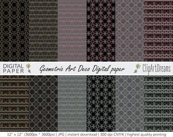 Geometric Art Deco Digital paper | Instant Download | printable set of 12