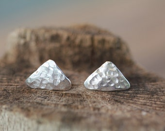 Triangular Hammered Silver 925 Post Earrings.