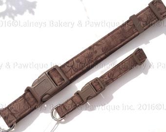 Laineys Fall Brown Scrolls Dog Collar