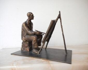Realistic sculpture, Bronze sculpture, Bronze statue of Painter , Limited edition, Small sculptural plastic