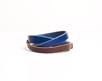 Minimalist blue and brown contrast color leather bracelet
