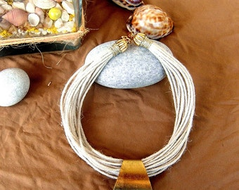 Linen Necklace with Metallic Parts
