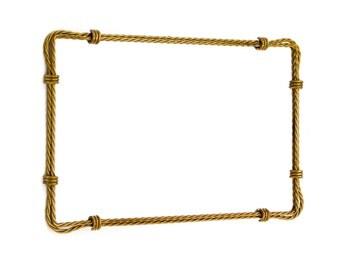 Hollywood Regency Mirror, Vintage Gold Toleware, Metal Rope, Framed Mirror