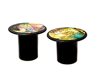 Karl Springer Style Side Tables,  Modernist, Art Deco, Side Tables