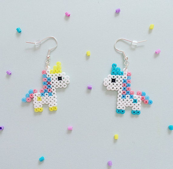 bubblegum unicorn hama bead earrings. Black Bedroom Furniture Sets. Home Design Ideas