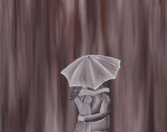 Shelter- in browns, Oil on Canvas Painting, Brown background with couple embracing under umbrella
