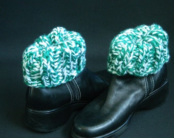 Boot Cuffs, Boot Toppers - Green/White