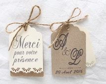 Tag customizable Save the Date / thank you wedding kraft vintage lace