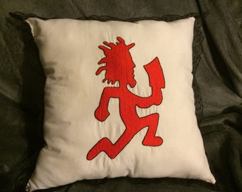 """17"""" hand embroidered red hatchetman pillow"""