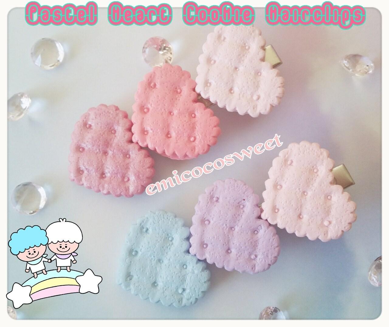 Pastel heart Cookie Hair clipFairy Kei Pastel Goth hair