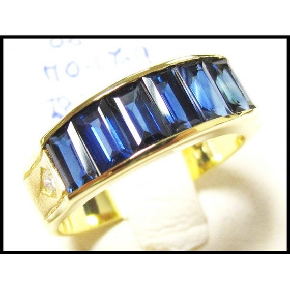 18k yellow gold wedding diamond for men blue sapphire ring for Sapphire studios jewelry reviews