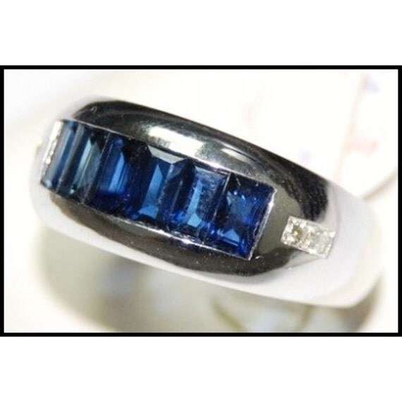 Jewelry 18k white gold diamond blue sapphire ring gemstone for Sapphire studios jewelry reviews