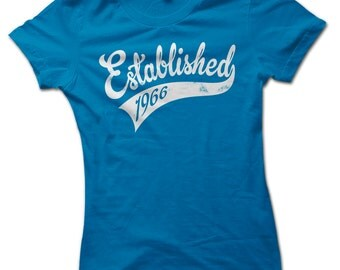 Established in 1966 50th Birthday Present Ladies Premium T-Shirt Choice of 8 Colours in Sizes Small to 2X Large