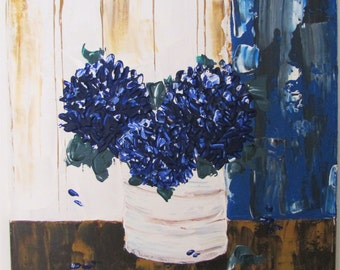 Blue Hydrangeas Palette Knife Painting