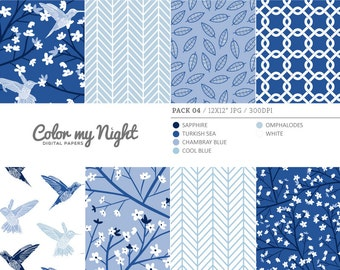 80% OFF SALE Digital Paper Blue 'Pack04' Blossom Flowers, Hummingbirds, Leaves... Scrapbook Backgrounds for Scrapbooking, Invites, Crafts...