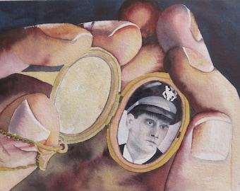 Award Winner Original Watercolor Portrait Male Soldier Nostalgia