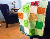 Rag quilt for sale, green blanket, rag quilt throw, ready to ship, handmade, rag blanket, wedding present, green quilt, housewarming gift